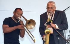 . . . as sax master Jesse Jones Jr. and his friend, guest trombonist Charlie, play together.
