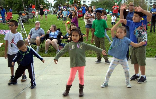 Kids get into the groove.
