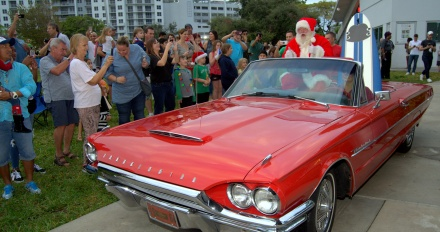 . . . for Santa's arrival, in a classic T-Bird.